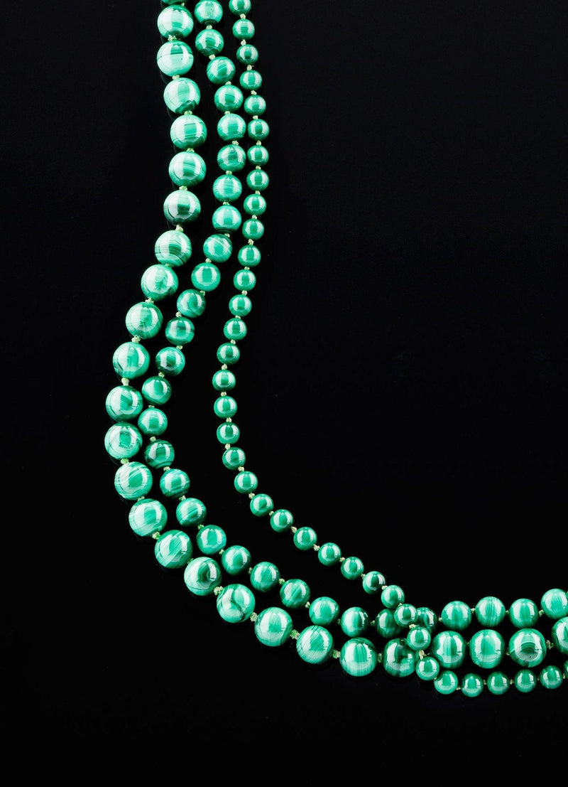 Close up 3 strand Malachite Necklace Set with various sized beads- Darby Scott