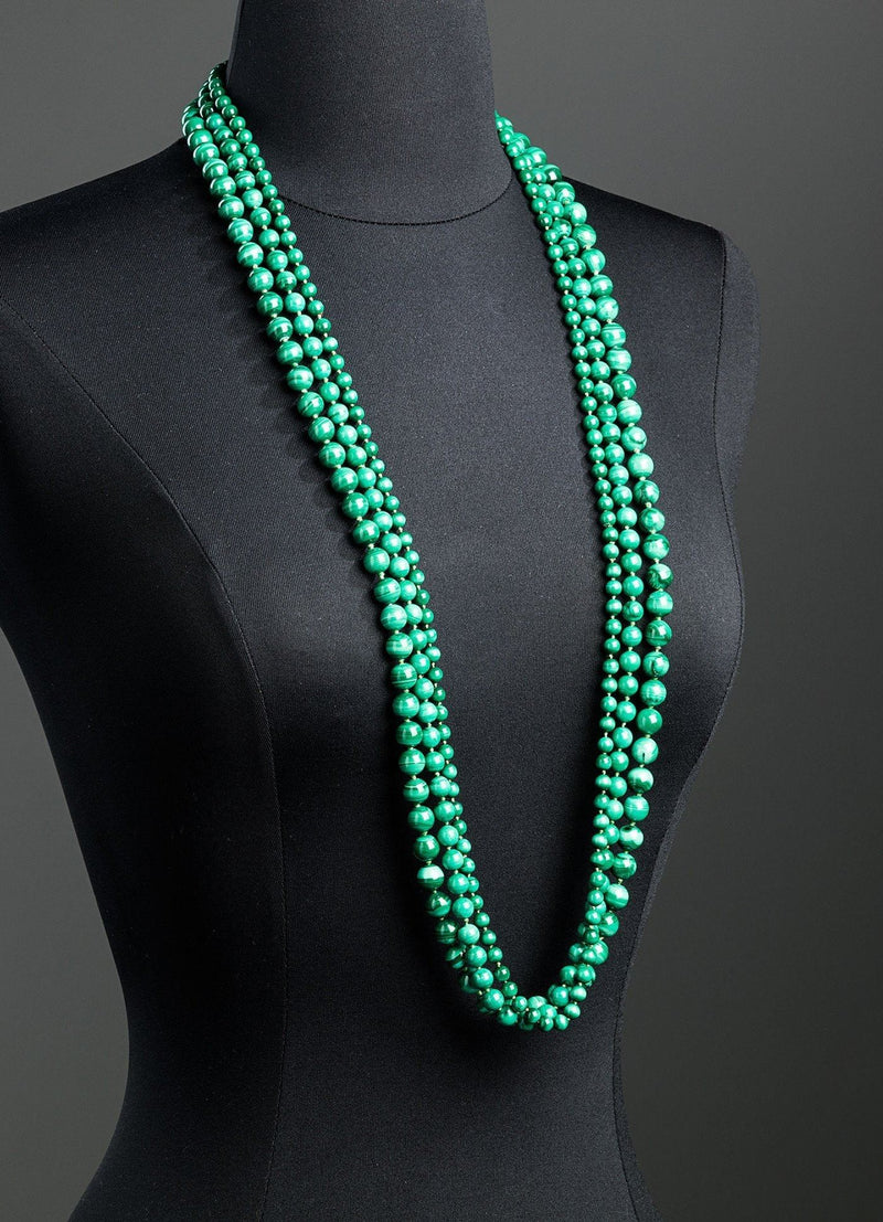Malachite Rope Necklace 3 Continuous Strand Set  - Darby Scott