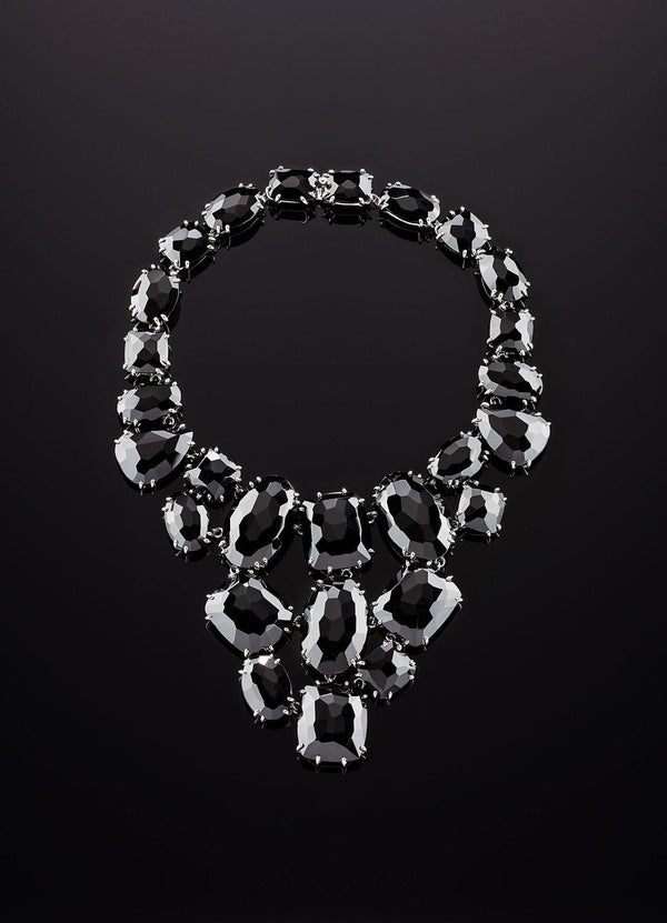Lay down view of Black Onyx Bib Style Necklace with hidden clasp - Darby Scott--alternate