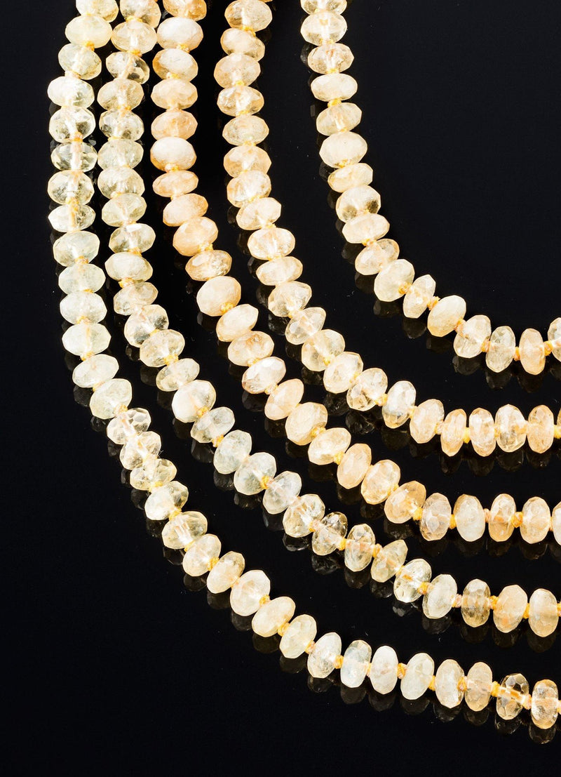 Close up view of Citrine Five Strand Necklace - Darby Scott