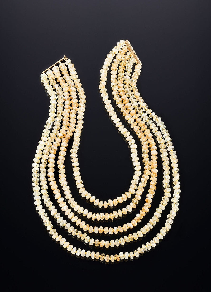 5 strand Citrine Necklace and 14K yellow gold bar clasp - Darby Scott
