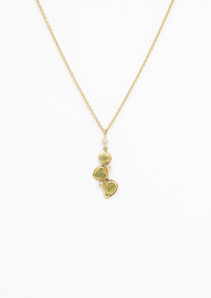 3 Stone Peridot & Diamond Mosaic Pendant on 14K Yellow Gold Chain - Darby Scott