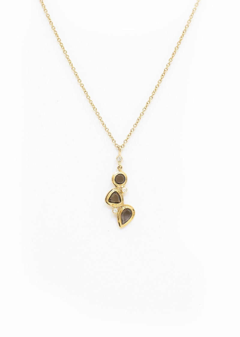 Mosaic Pendant set with 3 Stone Smokey Topaz, Diamond Accents in Yellow Gold - Darby Scott