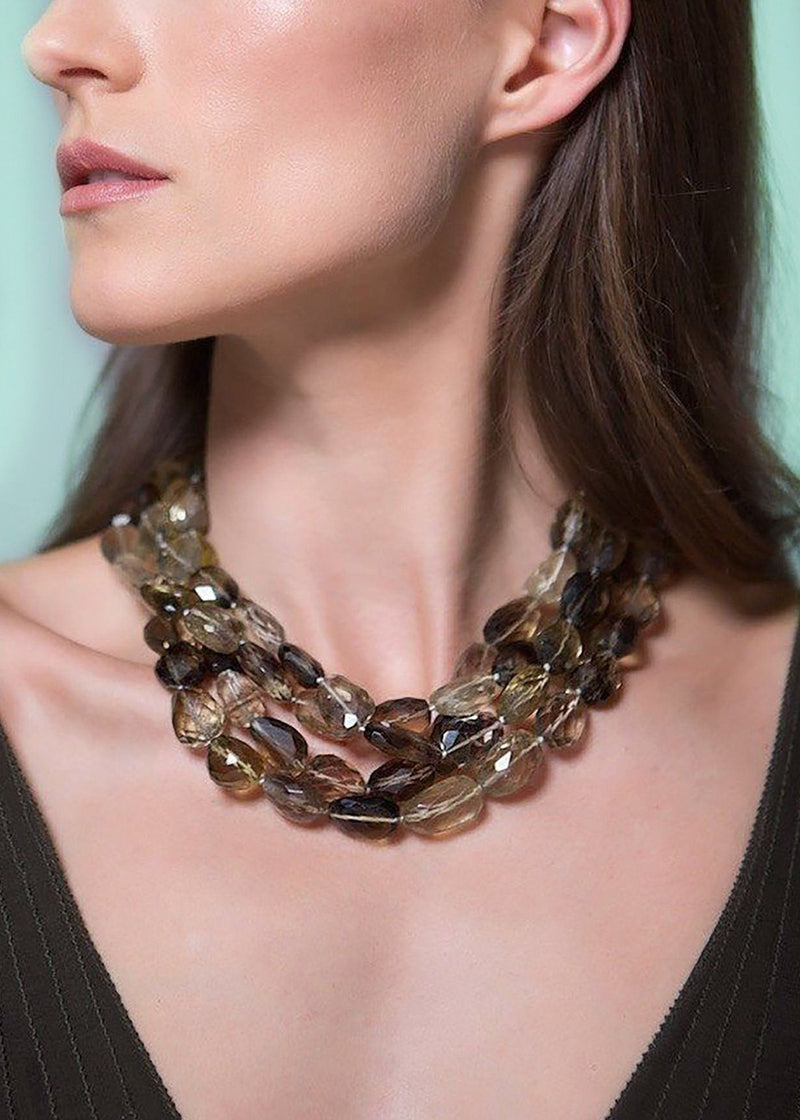 Model in Smokey Topaz Four Strand Necklace - Darby Scott