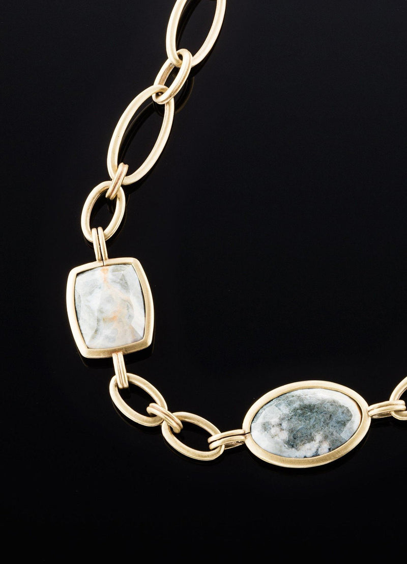 Close Up view of Ocean Jasper & Antiqued Brass Chain Link - Darby Scott
