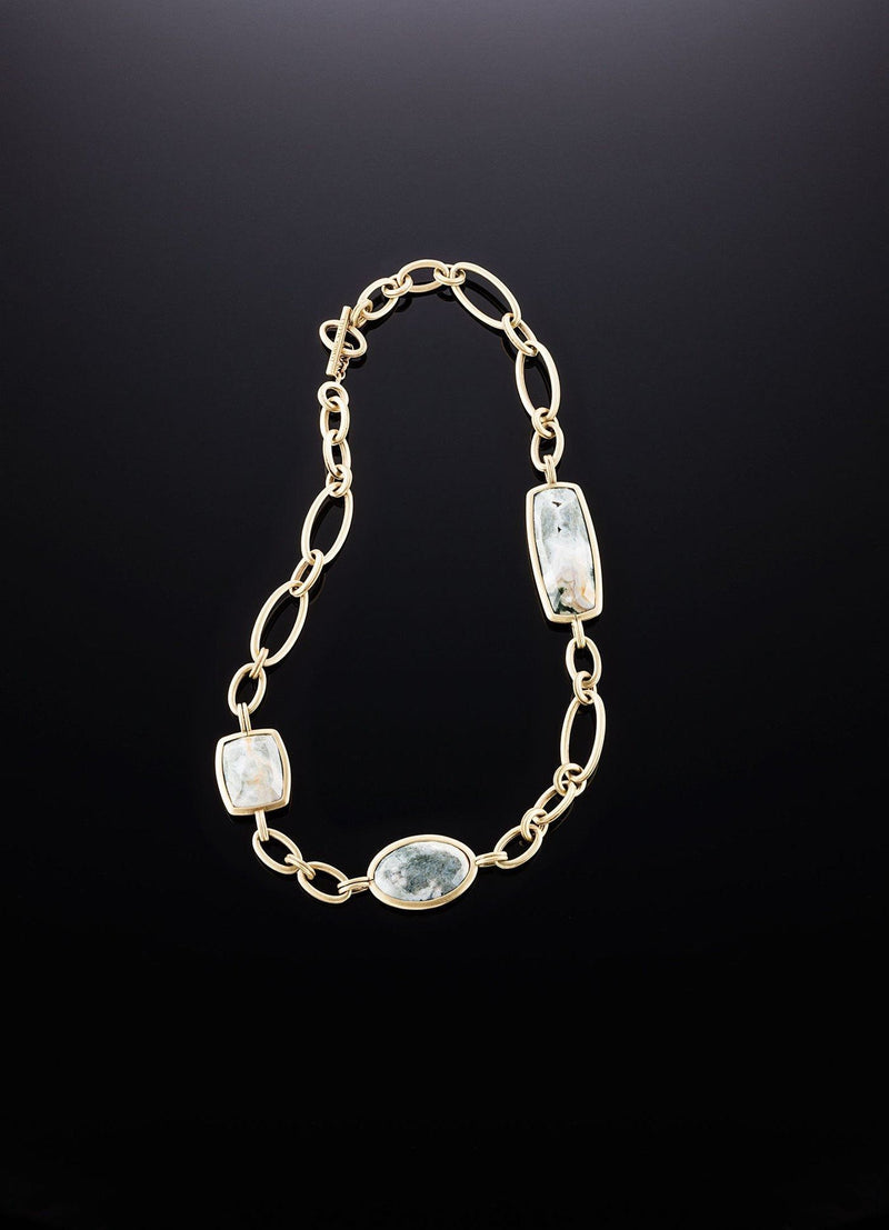 Flat View Ocean Jasper & Antiqued Brass Link Necklace - Darby Scott