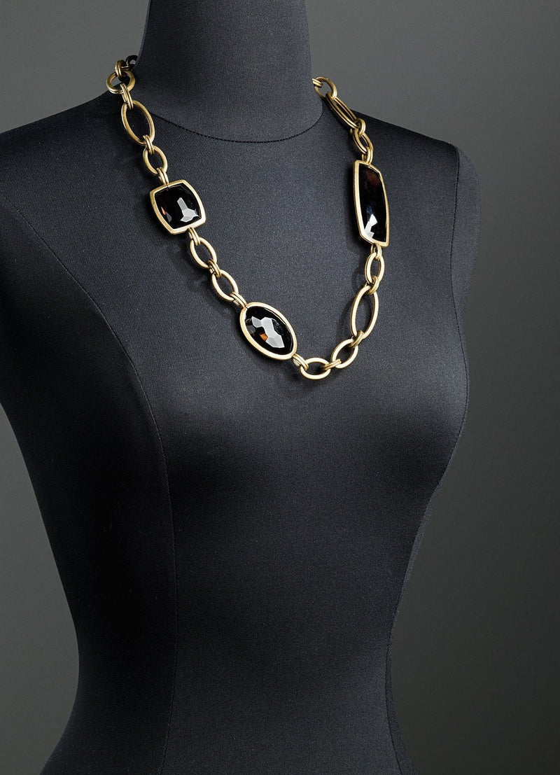 Smokey Topaz & Antiqued Brass Chain Link Necklace on Mannequin - Darby Scott