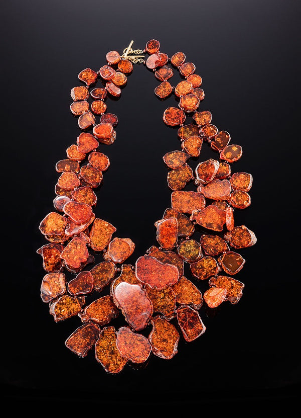 Close up view two large faux amber petal necklaces - Darby Scott--alternate