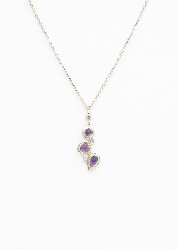 Amethyst & Diamond Sterling Mosaic 3 Stone Pendant on white background - Darby Scott--alternate