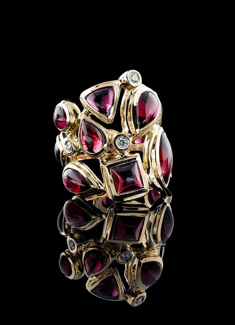 Teardrop Garnets & Diamond accent Mosaic Ring - Darby Scott