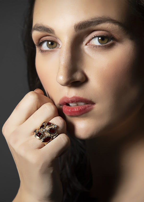 Close up of model in Garnet & Diamond Mosaic Cocktail Ring - Darby Scott--alternate