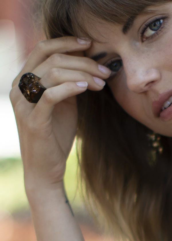 Model Wearing Smokey Topaz rough cut Ring - Darby Scott