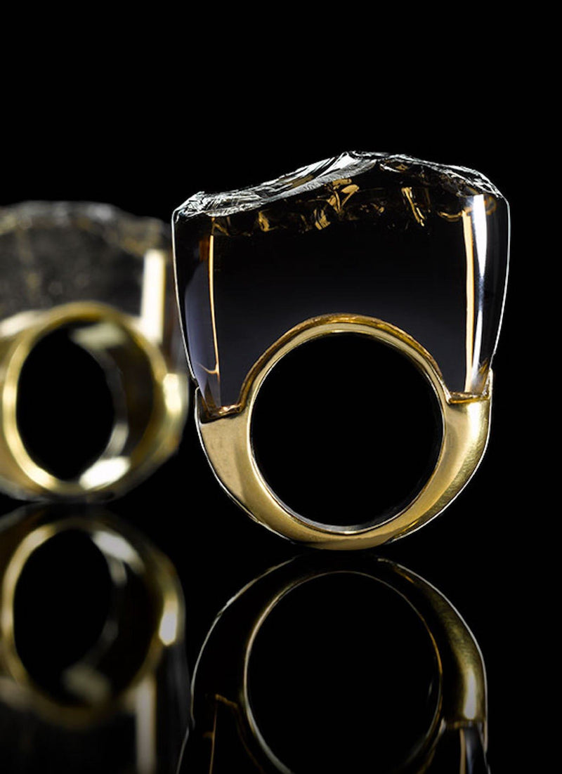 Rough Cut Smokey Topaz Stone in Yellow Gold Plated ring - Darby Scott