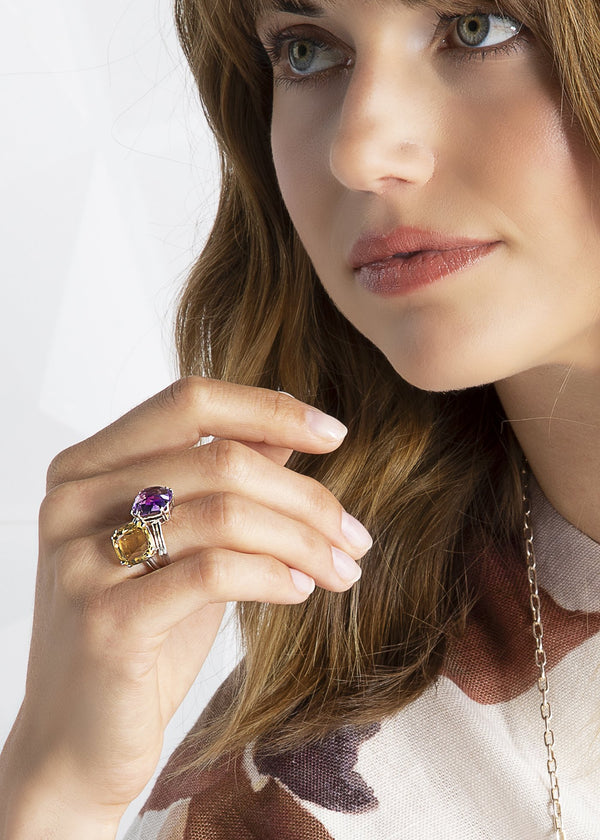 Amethyst & Citrine Cushion Cut Rings on a Model - Darby Scott--alternate