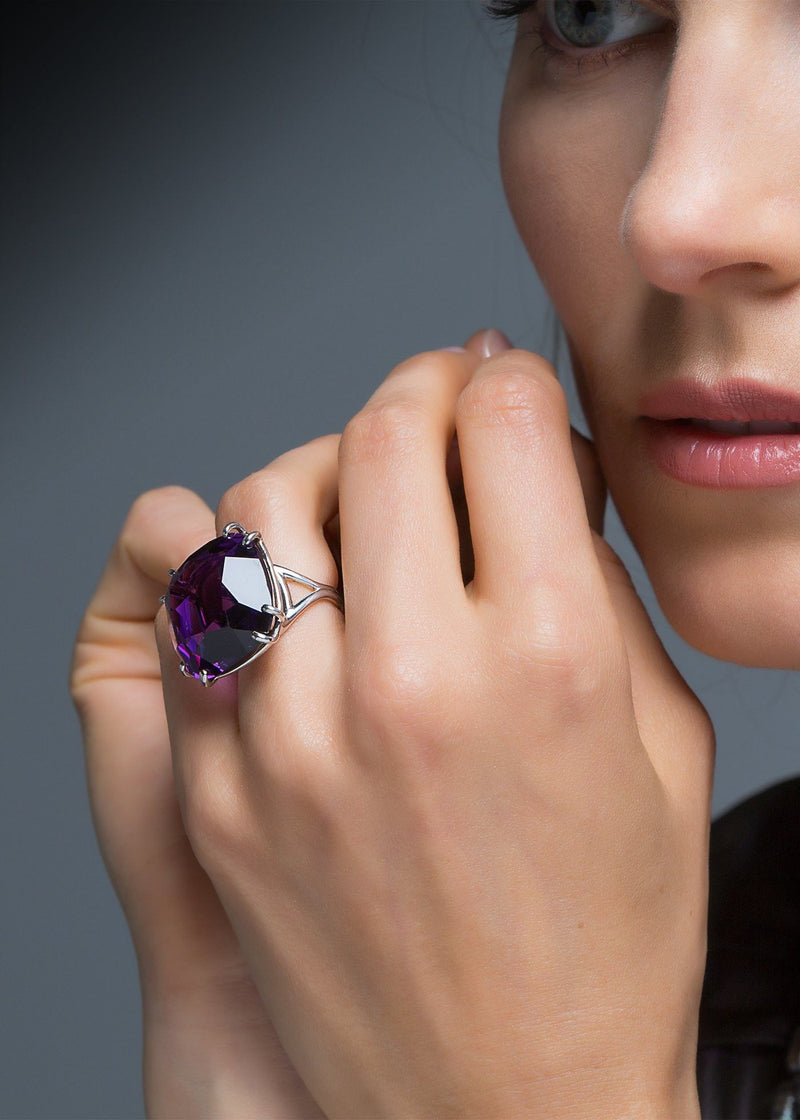 Close up Model with Amethyst 34 Carat Sterling Cocktail Ring - Darby Scott