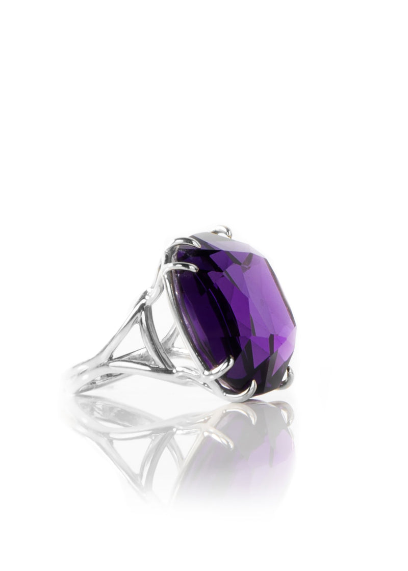 Side view 34 Carat Amethyst Cushion Cut Ring Sterling Silver - Darby Scott