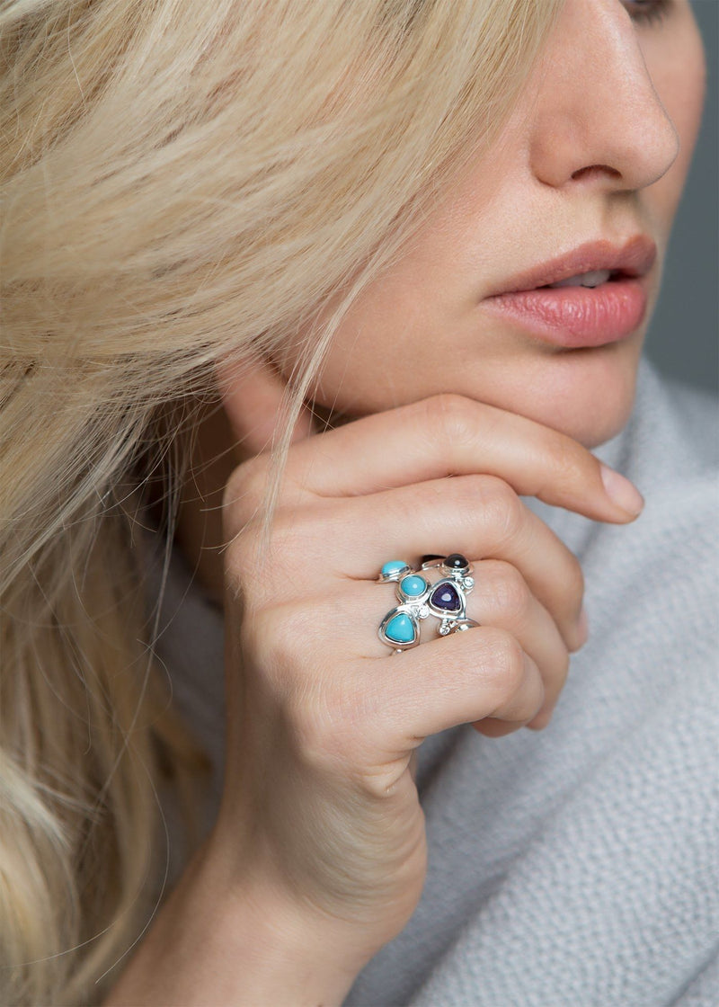 Model with two gemstone and diamond Mosaic Bands - Darby Scott