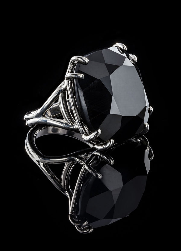 Sterling Silver Basket Set 34 Carat Black Onyx Cocktail Ring - Darby Scott--alternate