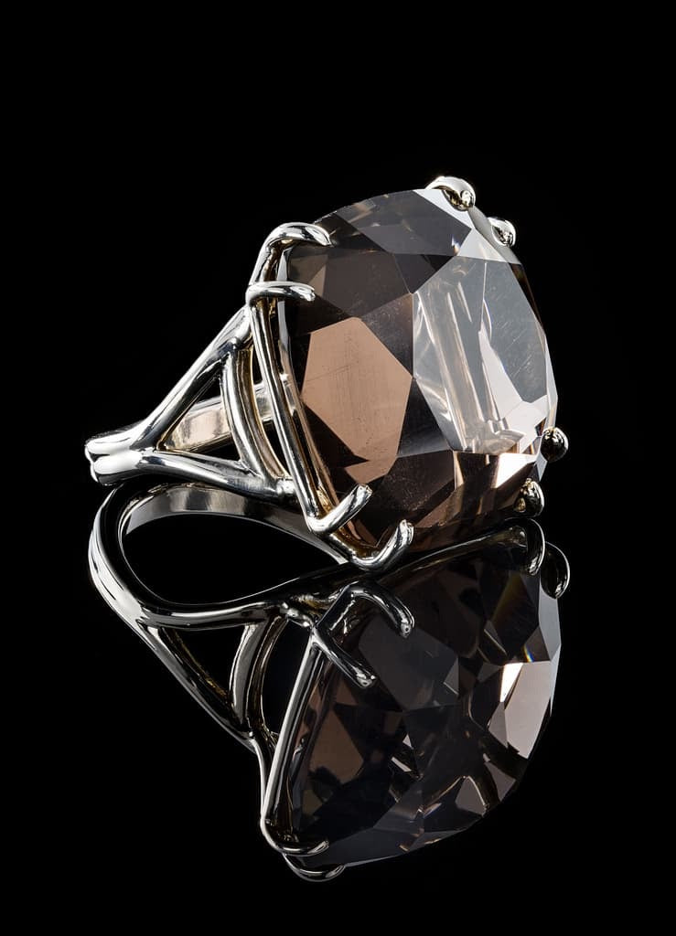 34 Carat Cushion Cut Smokey Topaz Stone set in a Sterling Ring - Darby Scott