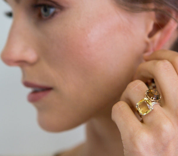 Model wears Whiskey Quartz & Citrine 12mm Cushion Cut Sterling Rings - Darby Scott--alternate