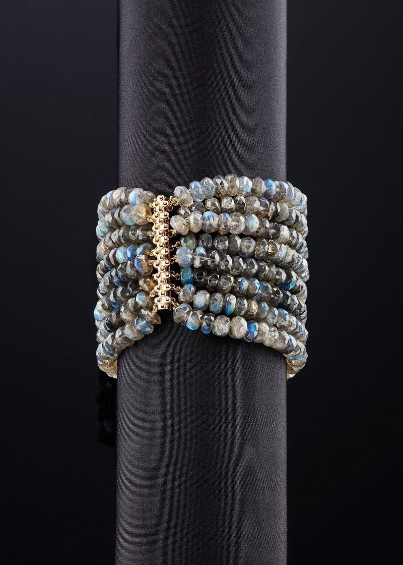 Labradorite eight strand bracelet with 14K yellow gold clasp - Darby Scott
