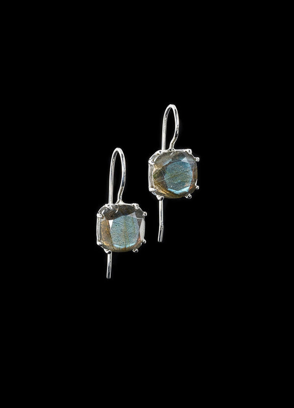 Labradorite 12MM Cushion Cut Sterling Silver Earrings - Darby Scott