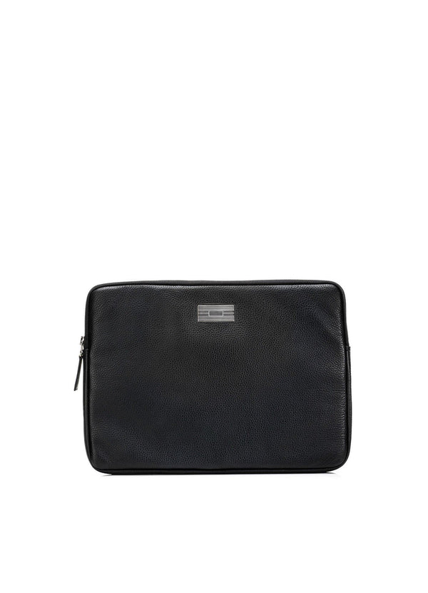 Black Pebble Leather Parker Laptop Case with Sterling Monogram Plate - Darby Scott--alternate