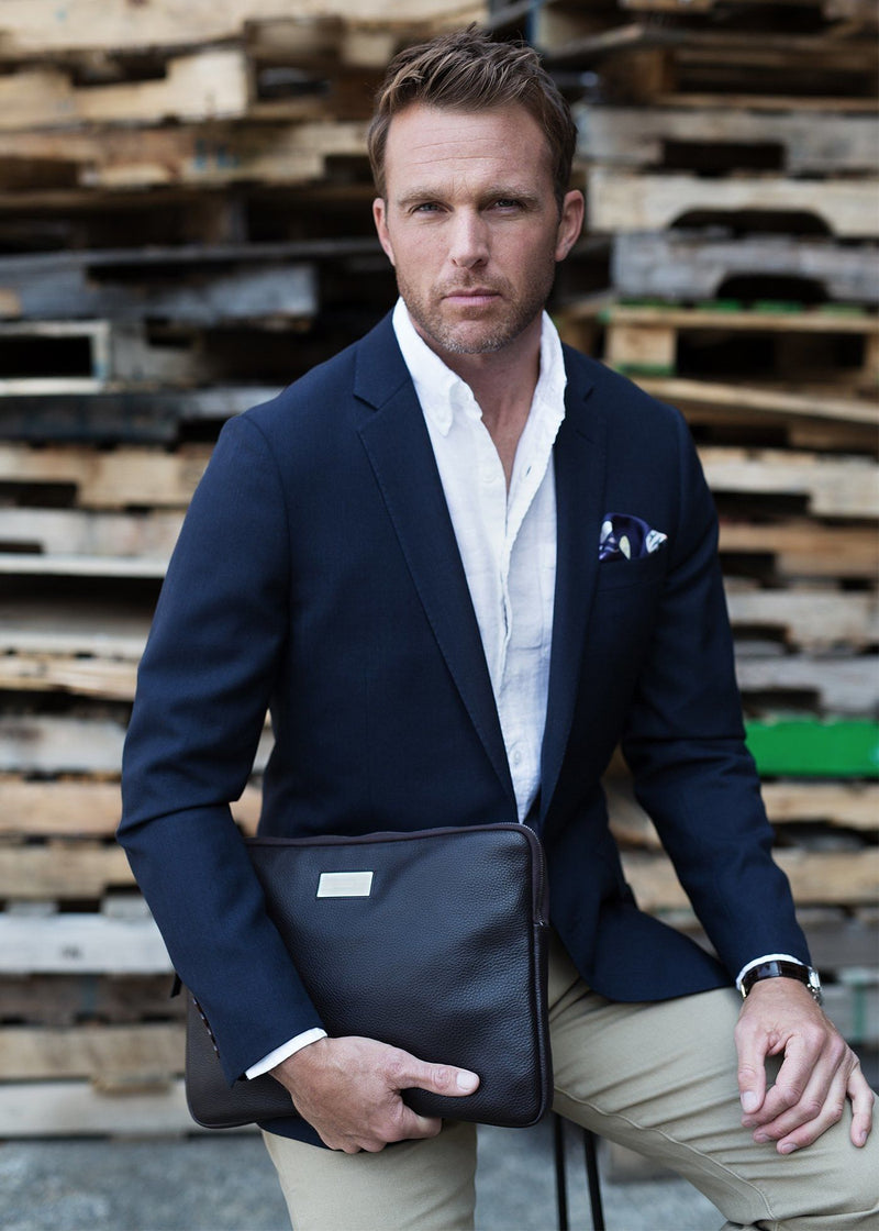 Model with Brown Leather Monogram Parker Laptop Case - Darby Scott