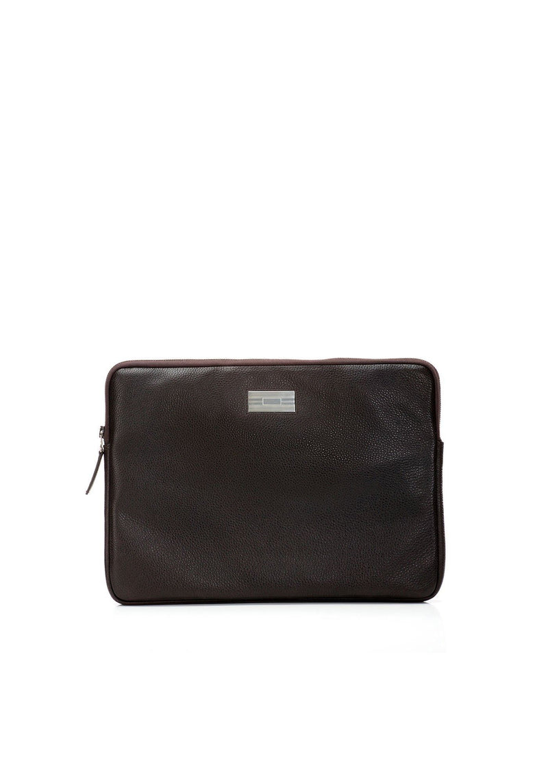 Brown Pebble Leather Parker Laptop Case with Sterling Monogram Plate - Darby Scott