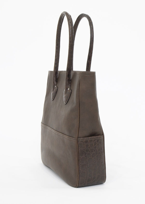 Side view of Brown Leather and Crocodile Essex Tote - Darby Scott--alternate