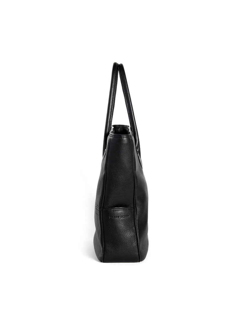 Side view of Black Pebble Leather Essex Tote - Darby Scott