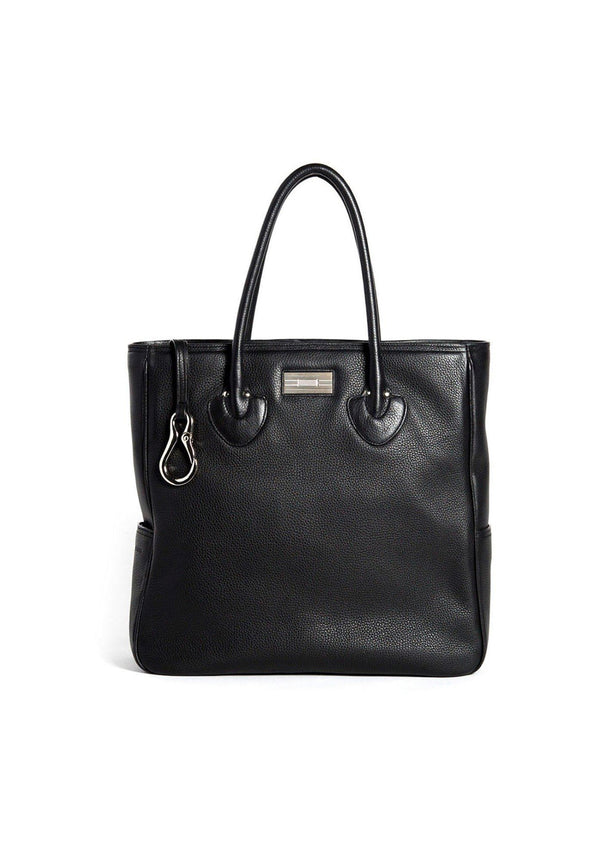Black Leather Essex Tote with Sterling Monogram Plate  - Darby Scott