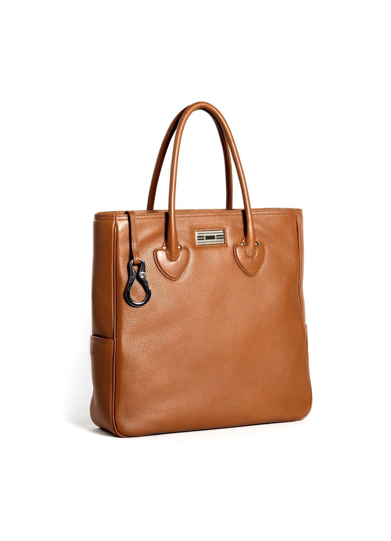 Cognac Leather Essex Tote with Sterling Monogram Plate - Darby Scott