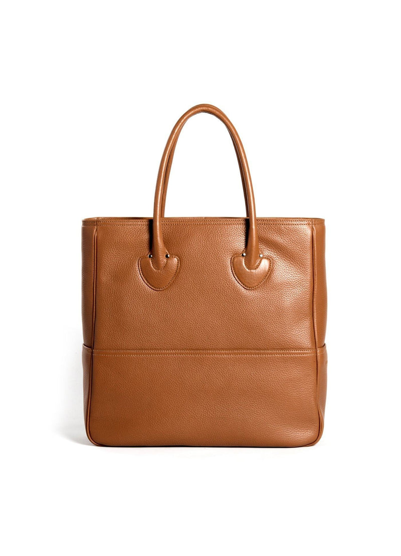 Back view of Cognac Leather Essex Tote - Darby Scott