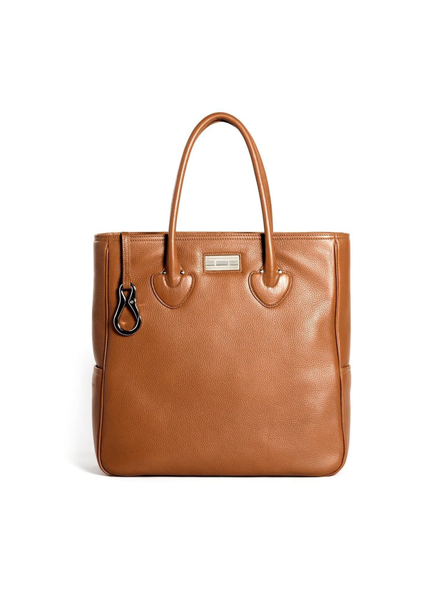Cognac Pebble Leather Essex Tote with Sterling Silver Monogram Plate - Darby Scott