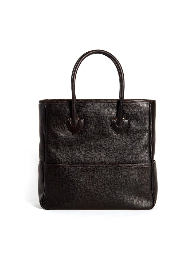 Back view Brown Leather Essex Tote - Darby Scott
