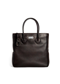 Brown Leather Essex Tote with Sterling Monogram Plate - Darby Scott