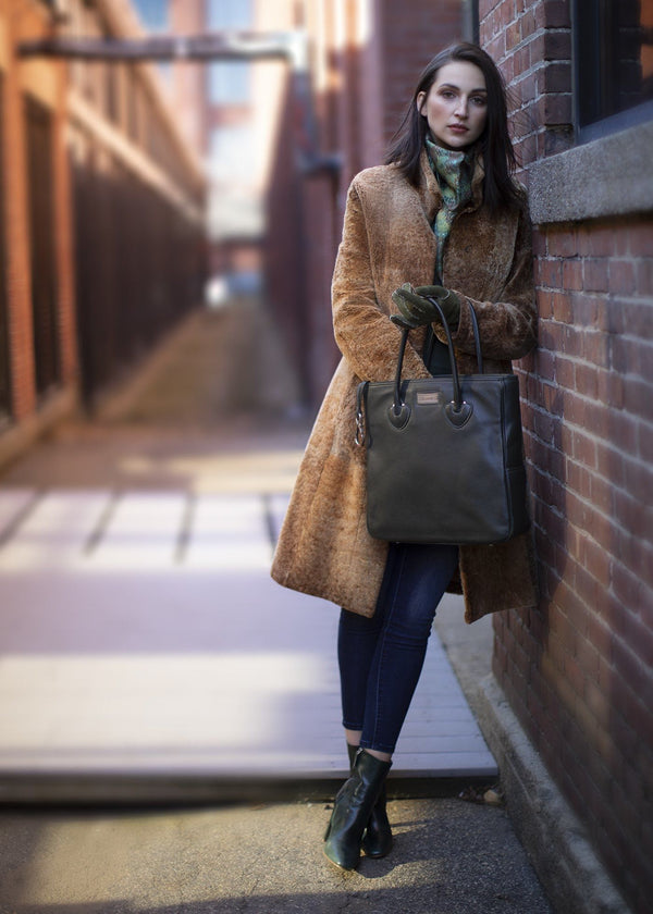 Model with Dark green leather Essex monogram tote - Darby Scott