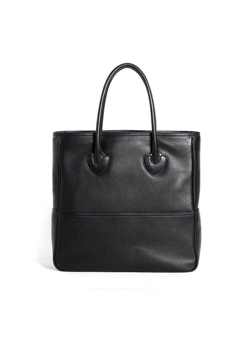 Back view Navy Leather Essex Tote - Darby Scott