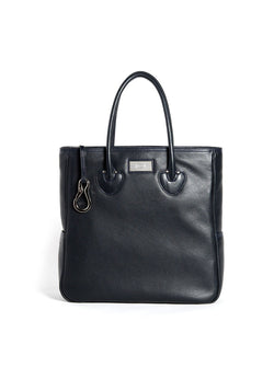 Navy Pebble Leather Essex Monogram Tote - Darby Scott