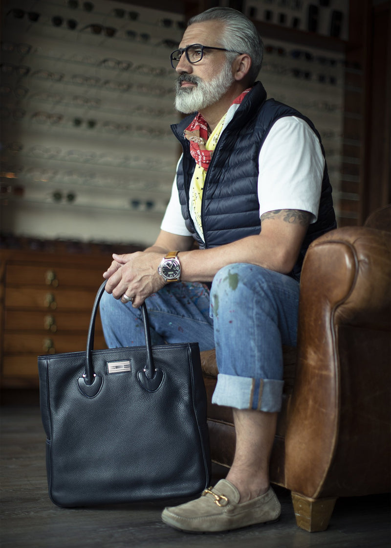 Navy Leather Monogram Essex Tote with Man in Chair - Darby Scott