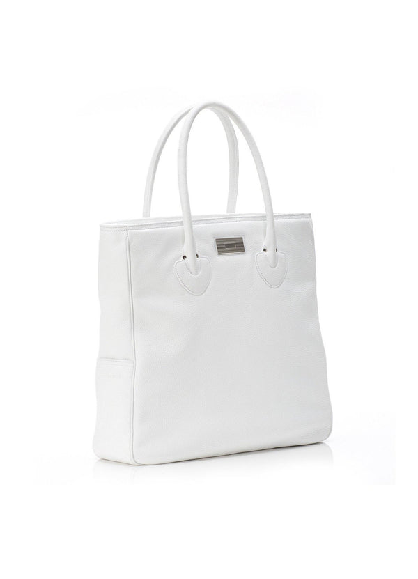 White Leather Essex Tote with Sterling Monogram Plate - Darby Scott--alternate