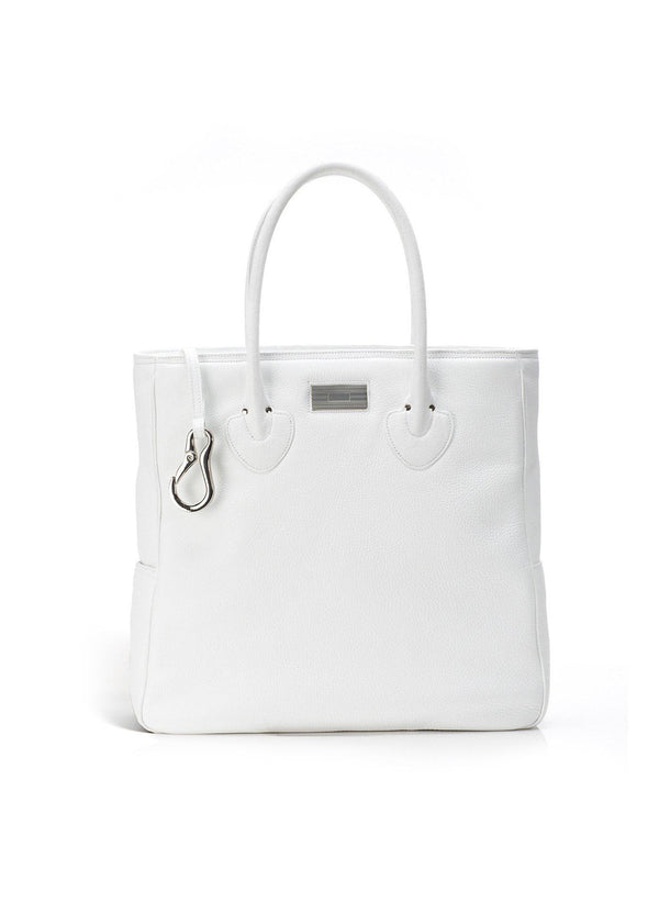 White Pebble Leather Essex Monogram Tote - Darby Scott
