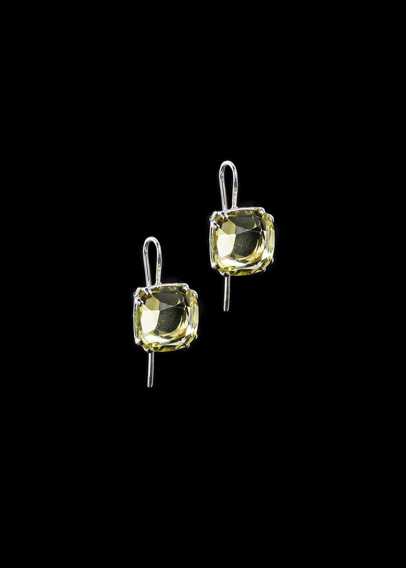 Lime Citrine 12mm Cushion Cut Sterling Earrings - Darby Scott