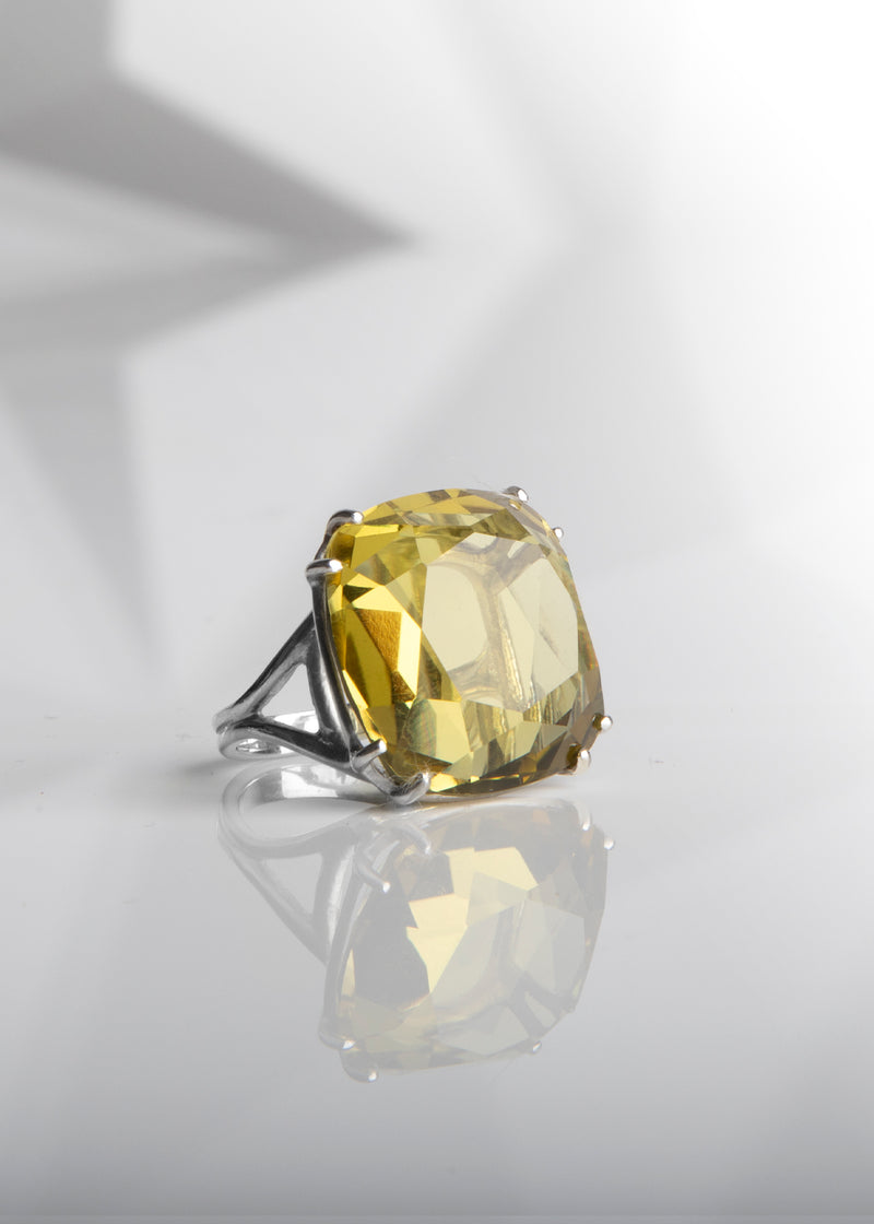 Lime Citrine 34 Carat Cocktail Ring in Sterling Silver
