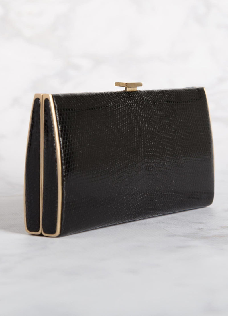 Black Lizard Box Wallet with Gold-Tone Frame, Side View - Darby Scott