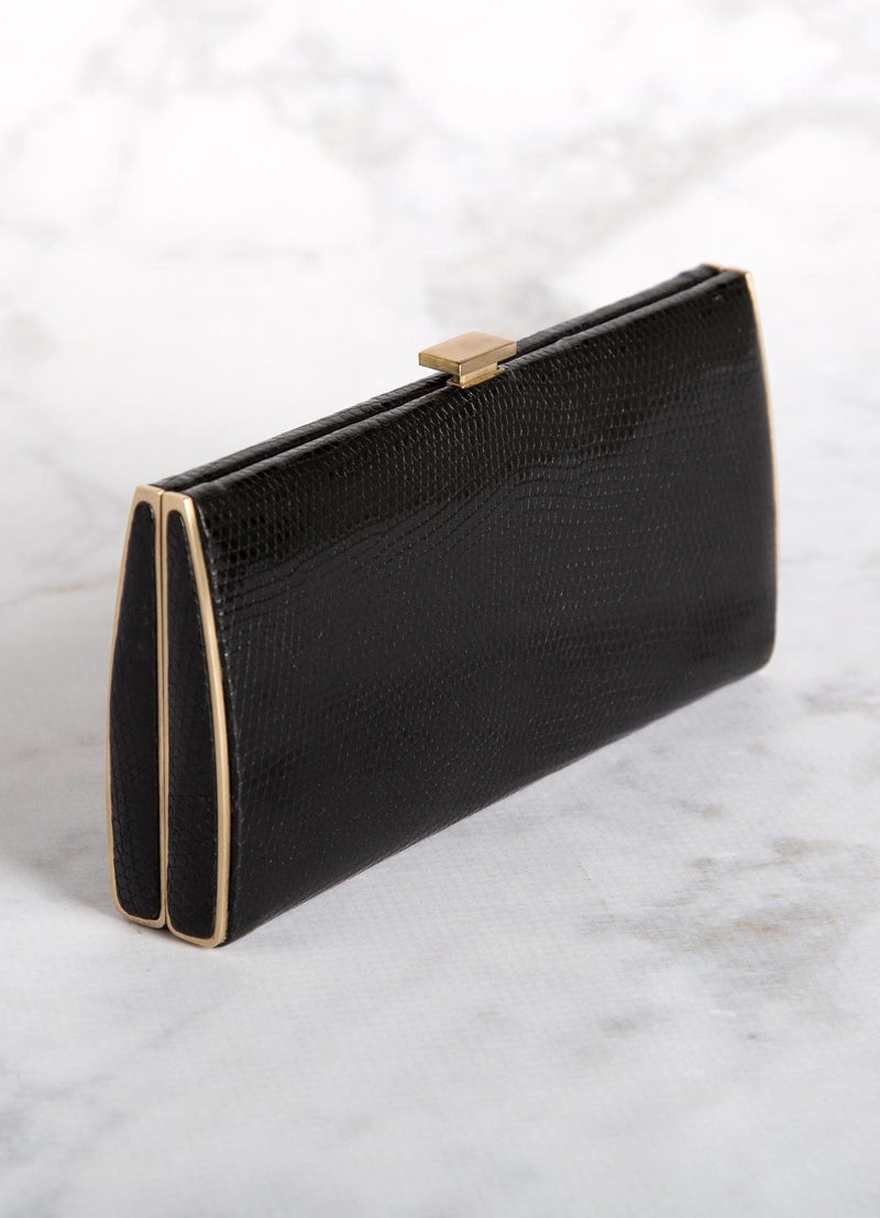 Black Lizard Box Wallet with Gold-Tone Frame, Top View - Darby Scott