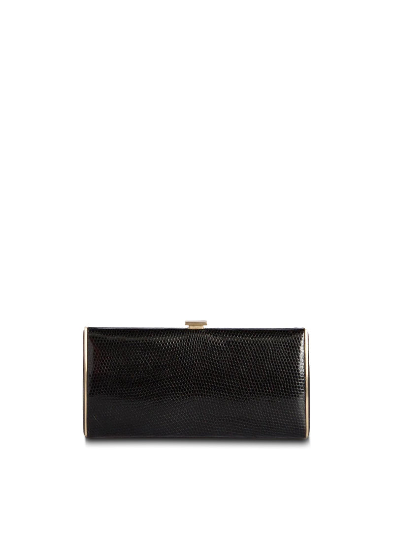 Black Lizard Box Wallet with Gold-Tone Frame, Front View - Darby Scott