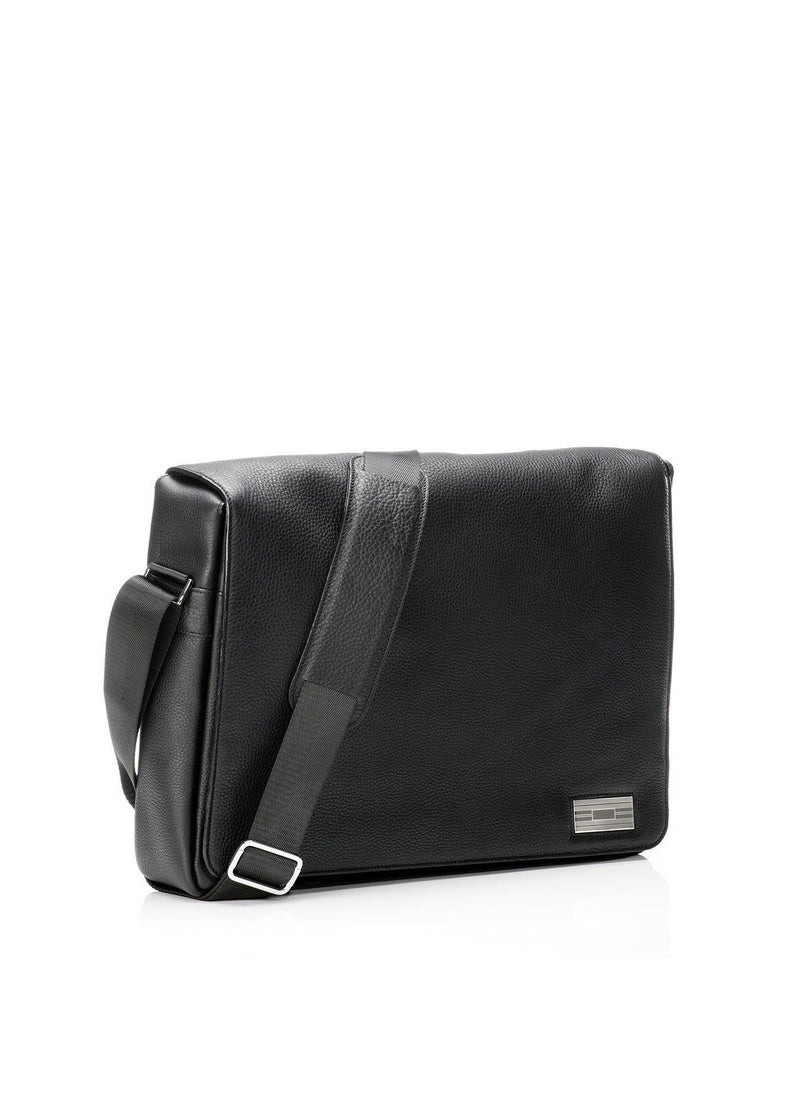 Side view of Black Leather Penn Messenger Bag - Darby Scott