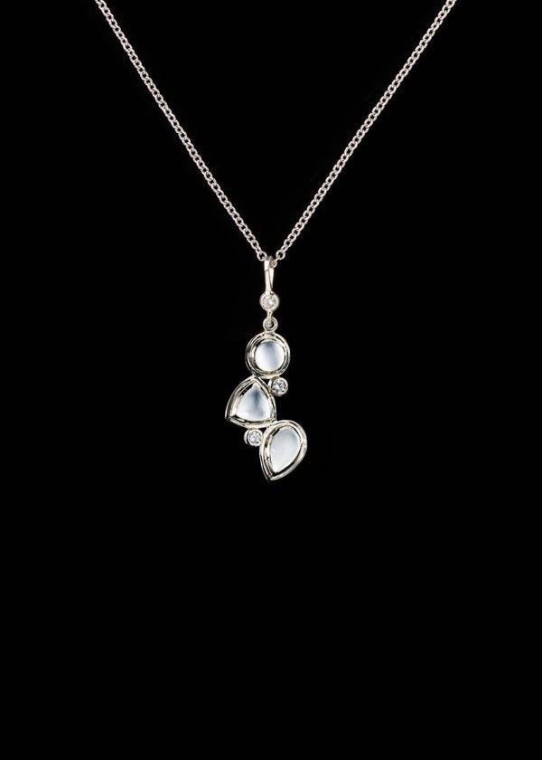 Moonstone diamond sterling necklace mosaic 3 stone - Darby Scott